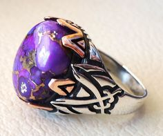 men ring highest quality purple mohave copper by AbuMariamJewels