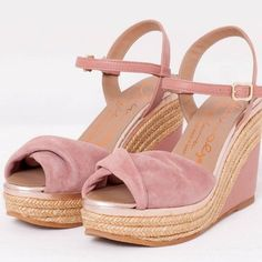 Handmade in Spain, these high wedge platform sandals combine nappa leather and suede with jute.   Endlessly romantic and super comfortable, too. #suede #wedge #sandal