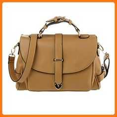 Jeansian Womens PU Faux Leather Hand Bags Clamshell Top Handle Bags WBG120 Khaki (*Partner Link)