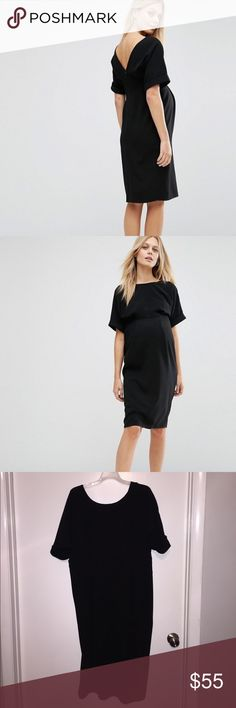 ASOS Maternity Smart Woven Dress with V Back Brand new never worn! Perfect maternity dress. Super flattering while showing off the bump! Lined woven black fabric. V back with zipper. Slimming. Machine wash! Perfect condition! Fits great. Hits right at the knee. ASOS Maternity Dresses