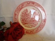 Collection plate made by Memorylane USA. Red and white coloured porcelain.  In excellent condition and without nicks.  Representing a farm.  Measuring: 10 inches in diameter.  Price : $ 7.76 usd