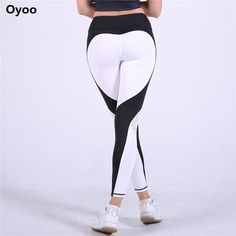 Oyoo Sexy Contrast Heart Legging Red Running Tights Women Sport Pants Gym Clothes Sports Leggings Fitness Hot Mesh Yoga Pants #Affiliate