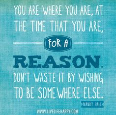 You are where you are, at the time that you are, for a reason. Don't waste it by wishing to be somewhere else. -Mandy Hale by deeplifequotes, via Flickr
