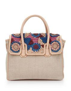 SAM EDELMAN Sylvia Canvas Leather Convertible Satchel Retail: $228 #SAMEDELMAN #Satchel