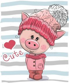 Buy Cartoon Pig Girl in a Hat and Coat by on GraphicRiver. Cute Cartoon Piggy girl in a hat and coat This Little Piggy, Little Pigs, Pig Illustration, Illustrations, Cute Images, Cute Pictures, Pig Girl, Pig Drawing, Cute Piggies