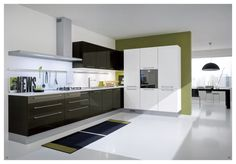 Contemporary Ikea Kitchen Idea Features Cool High Gloss Black Cabinet And Drawers Plus High Gloss White Kitchen Worktop Plus Navy Blue And Lime Green Kitchen Rugs And Shelving System For Appliances With Ikea Corner Cabinets Plus Ikea Kitchen Cabinets, Fabulous Ikea Kitchen Design Ideas That Moms Would Love: Kitchen