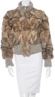 Costume National Knit Trimmed Fur Jacket Fur Jacket, Costumes, Knitting, Stylish, Jackets, Tops, Women, Down Jackets, Dress Up Clothes