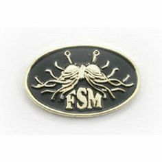 Nice Oval Flying Spaghetti Monster Lapel Pin   Gold And Black Finish By Ring Of  Fire Enterprises