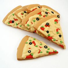 Decorated Cookies - Pizza - Pizza Party - 8. $25.00, via Etsy.