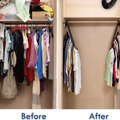 Make the most of your ridiculously tiny dorm closet by using cascading hangers. | 19 Dorm Room Tips That'll Get You Instantly Organized