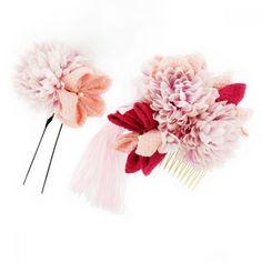 Fluffy Large Pink Flower Chrysanthemum Tsumami Kanzashi Kawaii Kimono Hairpin | eBay