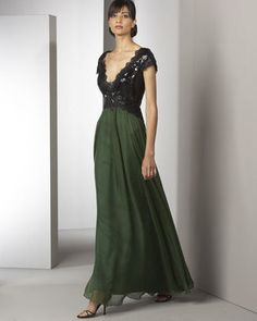 ShopStyle: Alberto Makali Lace-Bust Gown.  black lace and green victorian/goth dress