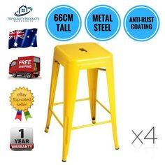 4x Replica Tolix Kitchen Cafe Bar Stool Metal Steel Chair 66cm High Yellow New