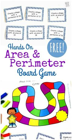 Looking for a new and engaging way to explore area and perimeter? Grab this FREE printable area and perimeter game to give your kids some fun, yet challenging hands on practice! All you need are some cuisinaire rods and you're ready to play. Easy Math Games, Fun Math, Math Board Games, Math 5, Math Stem, Kid Games, Guided Math, Math Resources, Math Activities
