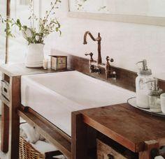 Inexpensive Bathroom Vanity, Farmhouse Sink Bathroom Vanity, Bathroom Wood Shelves, Farmhouse Apron Sink, Bathroom Vanity Decor, Vanity Sink, Bathroom Styling, Bathroom Furniture, Farmhouse Style