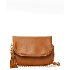 Moda Luxe Saddle Dandy Crossbody ($23) ❤ liked on Polyvore featuring bags, handbags, shoulder bags, brown, faux leather crossbody, leather crossbody, brown shoulder bag, faux leather purses and faux leather handbags