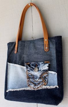 Denim Frayed Patch Tote with Outside Pocket, Leather Straps, Two Interior Pockets and Lined with a Multi-Colored Paisley Cotton - by AllintheJeans on Etsy