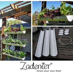 A good idea for a smal #garden.  www.zadenier.com Hanging Gardens, Hanging Planters, Hanging Herbs, Hanging Flowers, Outdoor Planters, Diy Hanging, Diy Flowers, Outdoor Gardens, Herb Planters
