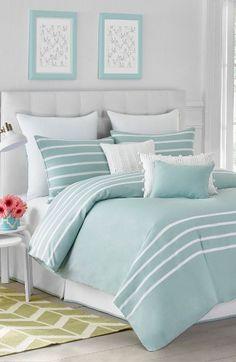 Jill Rosenwald Capri Stripe Duvet Cover & Shams available at Beach Bedroom, Home Bedroom, Bedroom Design, Bedroom Decor, Beautiful Bedrooms, Striped Duvet, Home Decor, Room Decor, Coastal Bedroom