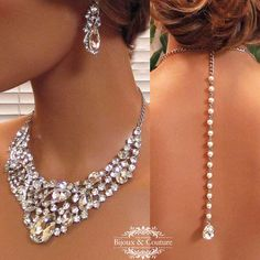 Bridal jewlery, Bridal back drop bib necklace earrings , vintage inspired rhinestone bridal necklace statement, wedding jewelry