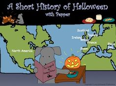 """Pepper has gone back in the depths of time to bring you a short history of Halloween from Europe, and provides vocabulary along the way.  Learn about the influence of Celtic, Roman, Christian, French, Spanish, Scottish and Irish traditions.  This package contains booklets, an interactive PowerPoint, color and write posters, a """"dress Pepper for Halloween"""" vocabulary exercise, a vocabulary quiz and instructions on how to make a paper pumpkin."""