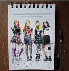*☆°~Angels will fly to the moon~°☆* Jungkook Fanart, Kpop Fanart, Bts Suga, Kpop Girl Groups, Korean Girl Groups, Black Pink Kpop, Kpop Diy, Best Friend Drawings, Blackpink Memes