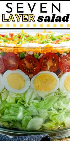 Seven Layer Salad is a delicious, crunchy, bright salad recipe that's great for potlucks, BBQs, and even holidays like Thanksgiving. For more easy salad recipes follow Easy Budget Recipes!