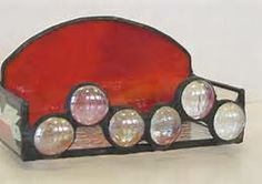 stain glass buisiness card holder with globbs