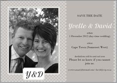 A SAVE THE DATE that was sent to our guests