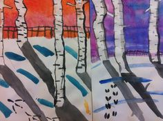 Winter birch trees. I used chalk pastel and masked the snow drifts and on a separate piece of paper, we used a dry brush technique with cardboard to produce the bark texture, cut out and pasted on. I like the addition of the animal tracks in this rendition from Center School Art.