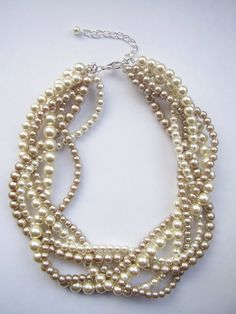 Custom order necklaces braided twisted chunky statement pearl necklace