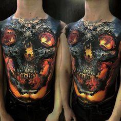 Glowing Skull Full Torso Tattoo http://tattooideas247.com/skull-torso/
