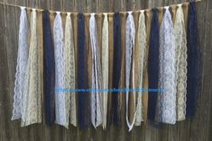 Country Rustic Charm Barn Wedding Burlap and Lace Garlands Swag Rag Tie Backdrop Navy Blue Lace, Shabby Chic hanging wedding decor backdrop