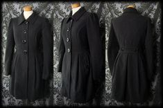Gothic Heavy Black Fitted WINTER FROST Quirky Coat 10 12 Victorian Vintage