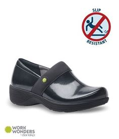 c71507b7123bf4 Work Wonders Camellia Grey Textured Patent Nursing Shoe