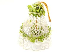 Wedding Bell Decoration Plastic White Lattice Green Leaves White Wedding Decoration 1960's Plastic Bell to Hang Wedding Lattice Arch Altar by CollectionSelection on Etsy