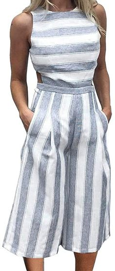 FANCYINN Women's Striped Jumpsuits Sleeveless Wide Leg Pants Backless Romper Loose Playsuit with Pockets Designer Jumpsuits, Casual Summer Dresses, Casual Dresses For Women, Short Dresses, Overall Damen Elegant, Coulottes Outfit, 2 Piece Skirt Set, Jumpers For Women