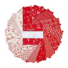 "From the Heart Charm Pack, Riley Blake 5-10050-42, 5"" Inch Precut Fabric Squares Stacker, Red White Valentine's Day Fabric, Sandy Gervais by Jambearies on Etsy"