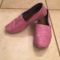 Pink sparkle TOMS Reposh.  Bought for my daughter but they are too small.  They are a size youth 4.  EUC. TOMS Shoes Flats & Loafers