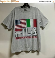vintage t shirt, Fila shirt, vintage Fila, 90s fila, tennis, basketball, Fila International, Italy, vintage Fila tee jumper Original 90s.