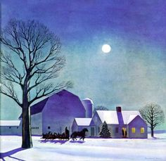 Moonlit Sleighride by Rockwell Kent on Curiator, the world's biggest collaborative art collection. Rockwell Kent, Norman Rockwell, Digital Museum, Collaborative Art, Noel Christmas, Xmas, Winter Art, Vintage Holiday, Winter Scenes