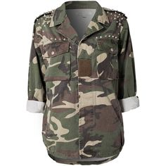 Glamorous Oversized Military Jacket ($76) ❤ liked on Polyvore featuring outerwear, jackets, tops, shirts, coats & jackets, camouflage, studded jacket, camo jacket, oversized army jacket and oversized camo jacket