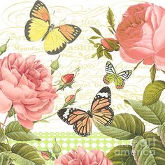 Lovely pair of Rose Bush digital paintings created by Jean Plout. Gorgeous pink roses with vintage script in background, lace pattern and beautiful butterflies. Great all alone or as a set of 2 or 4 with Rose Blush A,B,C & D. Napkin Decoupage, Decoupage Vintage, Decoupage Paper, Butterfly Flowers, Beautiful Butterflies, Art Papillon, Flower Artwork, Butterfly Cross Stitch, Blush Roses