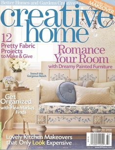 stenciled bench - BHG Creative Home Magazine cover