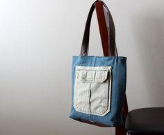 Casual Denim Tote  Repurposed Cargo Pocket by CrookedSmileCreation, $32.00