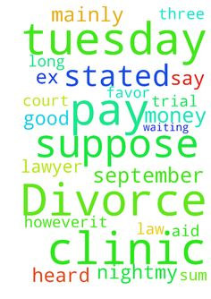 Divorce -  Good night,�my divorce trial is to be heard on Tuesday 27th September. I met with a lawyer from the legal aid clinic who is suppose to be representing me. I say supposed because every time I �meet with her she brings me down. I am not paying her much and I am not suppose to pay but because of a technicality, mainly, an asset �is in my name which is worth more than the sum which, as stated by the law, does not permit me to get representation from the clinic. However,it is only in…