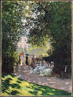 Monet painted five views of the Parc Monceau: three in 1876 and two in 1878. In this canvas, the disposition of light and shade in the foreground, the patterns of the leaves, and the broad contours beginning to develop in areas of strong contrast suggest that Monet had already begun to experiment with the boldly two-dimensional motifs that would characterize his work of the 1880s and 1890s.