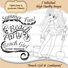 """Beach Girl"" digital stamp is a cute little girl with her beach toys and the sentiments you need for your creations. This sweet girl is the perfect starting point just for your own handmade craft projects. See it on Etsy: http://www.etsy.com/listing/108463262/beach-girl-digital-stamp-for-paper# Only $3.00."