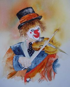 clown art | Clown au violon - Painting ©2007 par Estelle Royer - Peinture