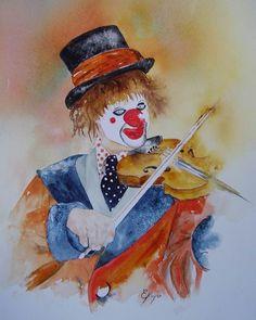 clown art | Clown au violon - Painting ©2007 par Estelle Royer - Peinture